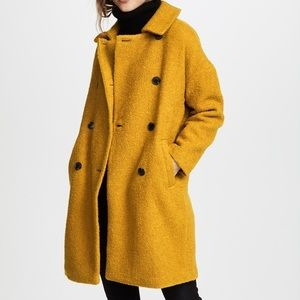 Madewell Mustard Boucle Double Breasted Coat XXS